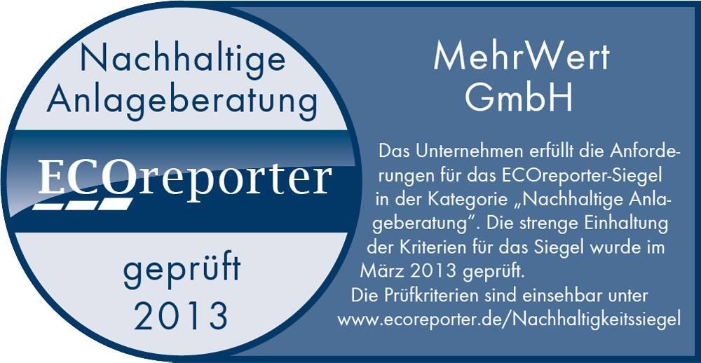 Exoreporter Siegel für nachhaltige Anlageberatung 2013